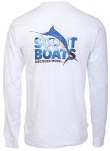 Scout Boats Long Sleeve Block Cotton T-shirt - White