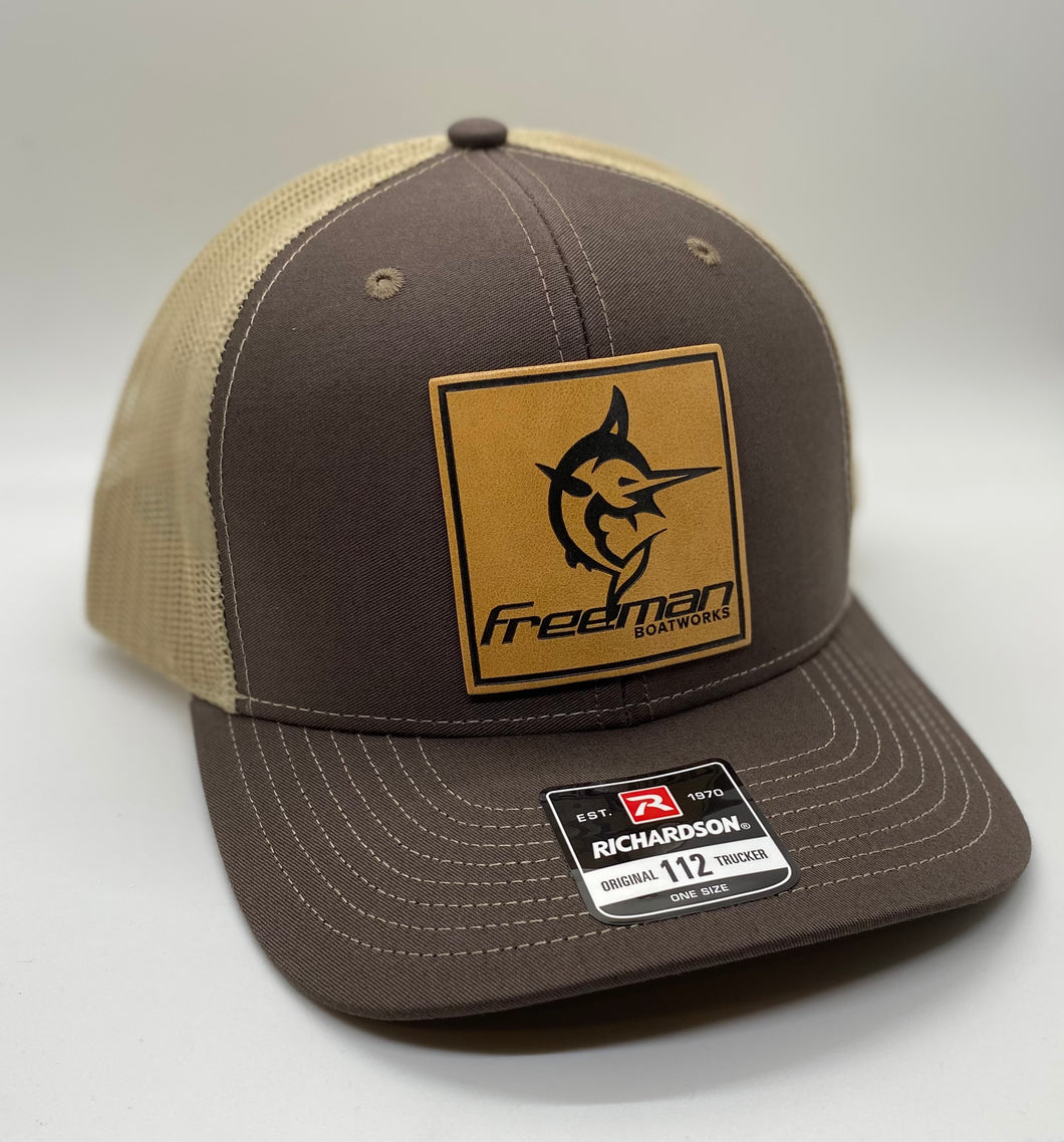 Freeman Boatworks Leather Patch Trucker - Driftwood Brown/Khaki