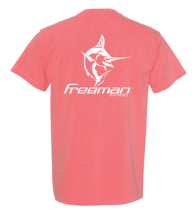Freeman Boatworks Short Sleeve Coral shirt with White logo