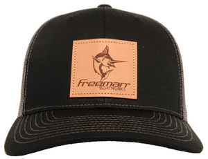 Freeman Boatworks Leather Patch Trucker - Black/Charcoal