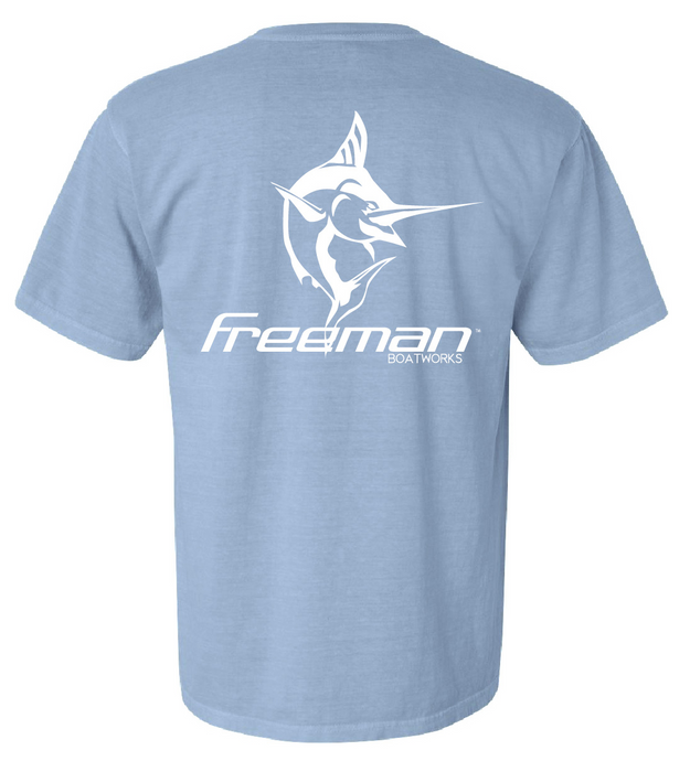 Freeman Boatworks Short Sleeve Carolina Blue shirt with White logo
