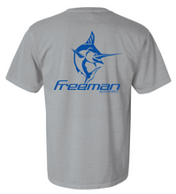Freeman Boatworks Short Sleeve Grey shirt with Royal Blue logo