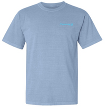 Freeman Boatworks Short Sleeve Carolina Blue shirt with Aqua Blue logo