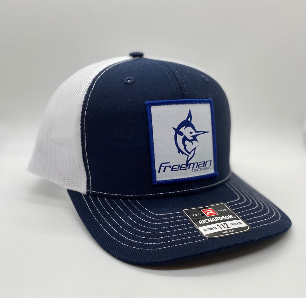 Freeman Boatworks Embroidered Patch Trucker Hat - Navy / White