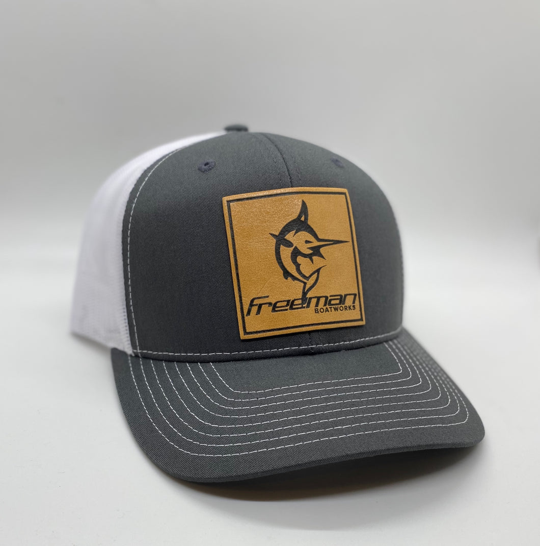 Freeman Boatworks Leather Patch Trucker - Charcoal and White