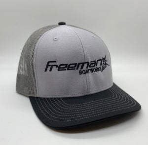 Freeman Boatworks Embroidered Logo - Black Bill/ Heather Grey Front/Mesh