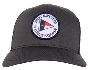 Boat Builders Trading Co. NC Flag Patch Structured Trucker Hat - Charcoal/Navy