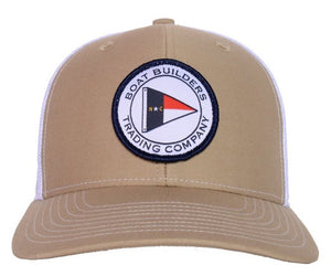 Boat Builders Trading Co. NC Flag Patch Structured Trucker Hat - Khaki/White