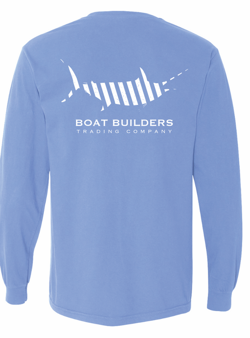 Boat Builders Trading Co. Striped Marlin Long Sleeve Shirt - Marlin Blue