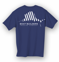 Boat Builders Trading Co. Striped Sailfish Short Sleeve Shirt - Navy