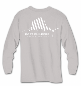 Boat Builders Trading Co. Striped Sailfish Long Sleeve Shirt - Grey
