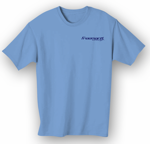 Freeman Boatworks Short Sleeve Saltwater Blue shirt with Navy Blue logo