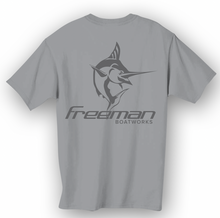 Freeman Boatworks Short Sleeve Hull Grey shirt with Charcoal logo