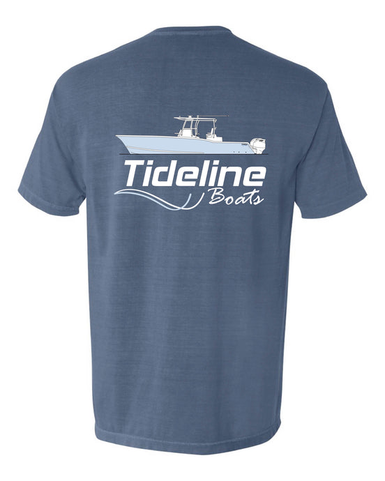 Tideline Boats - Line Drawing - Blue Short Sleeve Shirt