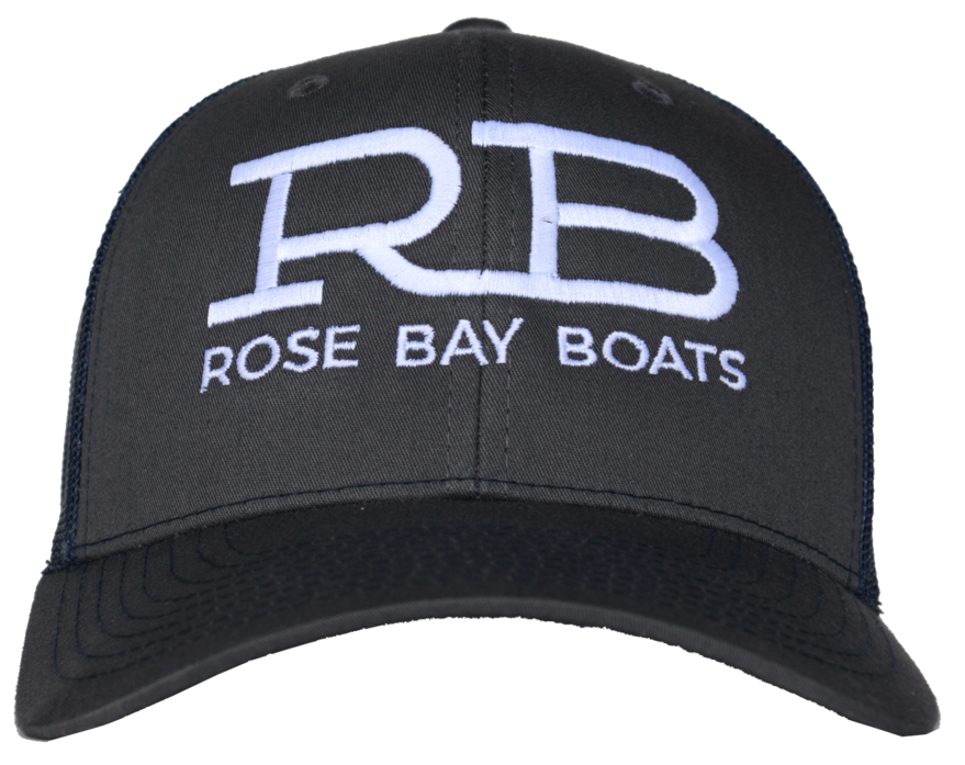 Rose Bay Boats Charcoal with Navy Mesh Trucker Hat