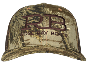 Rose Bay Boats Realtree Max Camo with Brown Trucker Hat