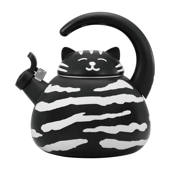 Black and White Cat Whistling Tea Kettle - All About Coffee n Tea
