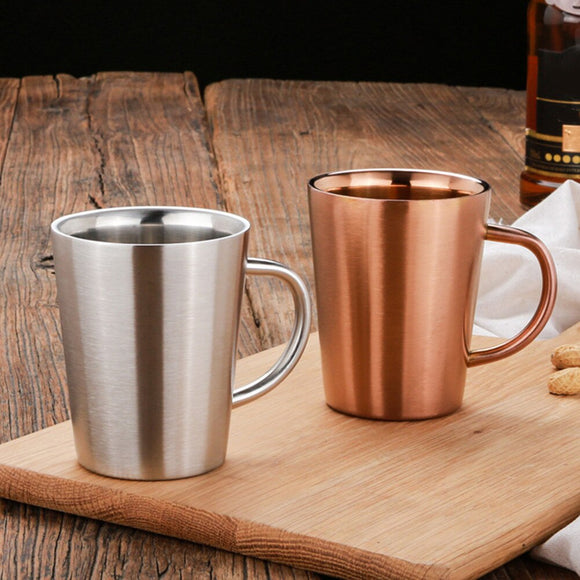 350 ML Stainless Steel Copper Plated Coffee Cup Double Layers 3 High Temperature Resistance Milk Tea Mug - All About Coffee n Tea