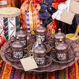 Copper Ottoman Turkish Arabic Tea/Coffee Set - 6 pcs Cups Sauces with Tray, Sugar Bowl Made in Turkey Gift Box - All About Coffee n Tea