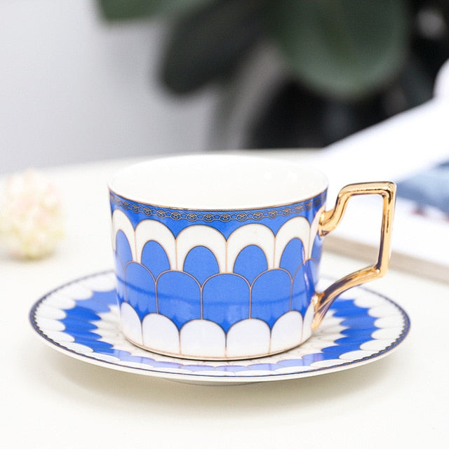 Coffee/Tea Cup and Saucer Set- British Style Luxury Moroccan with Gold Handel