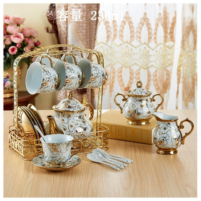 Tea Set- British Afternoon Porcelain Tea Set Blue and Gold