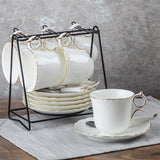European Style White Bone China with Gold Trim Coffee and Tea Set - All About Coffee n Tea