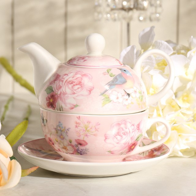 """Country Life"" Floral Tea Set- Includes Teapot, Cup and Saucer - All About Coffee n Tea"