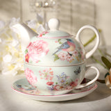 "Great Gift for Easter or Mothers Day! ""Country Life"" Floral Tea Set- Includes Teapot, Cup and Saucer - All About Coffee n Tea"