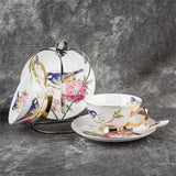 Elegant Pastoral Bird Bone China Coffee and Tea Set - All About Coffee n Tea