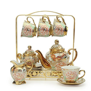 Tea Set - British Porcelain Tea Set pink and blue floral pattern