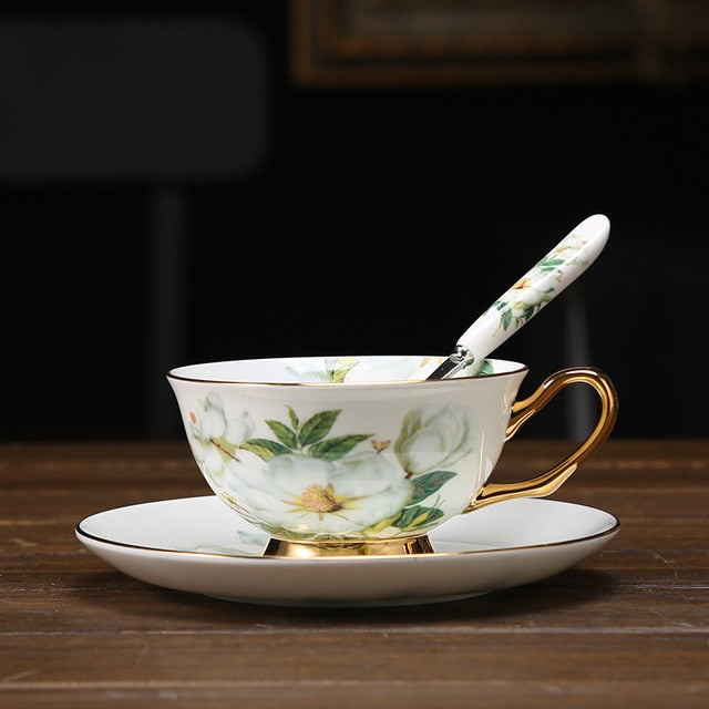 Tea Set- Bone china porcelain cup and saucer for Afternoon Tea floral and bird designs