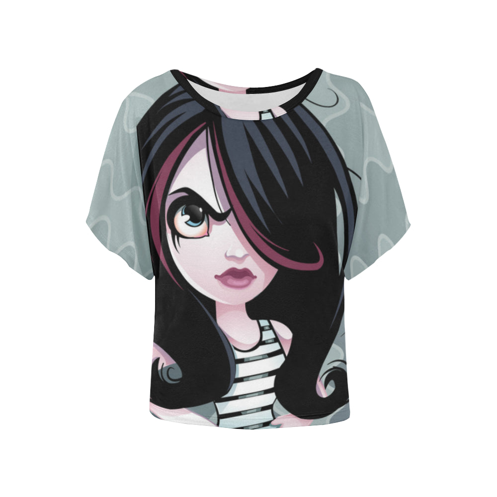 22393c71e Angry little Girl in Tutu Women s Batwing-Sleeved Blouse T shirt (Model ...