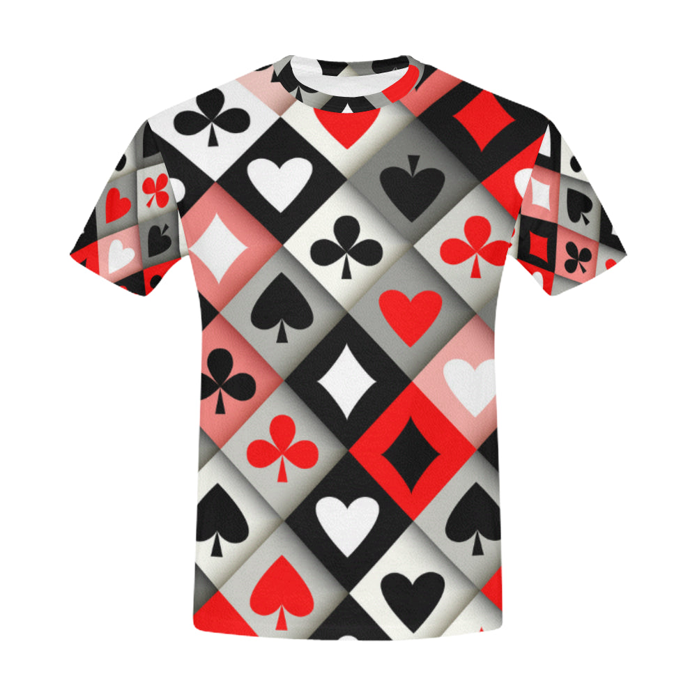 eef8ec670c5f6 Card Suits Seamless Pattern All Over Print T-Shirt for Men (USA Size ...