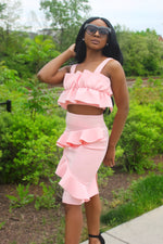 Burst Pink Ruffle Skirt Set