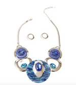 Blue Swirl Circular Necklace