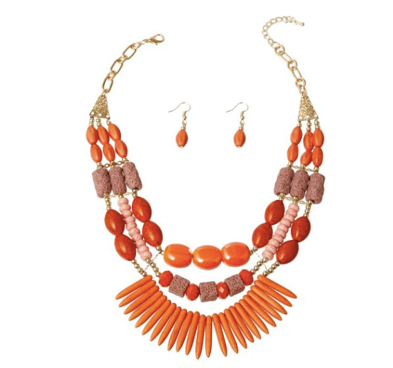 Cracked Pointed Orange Shell Necklace