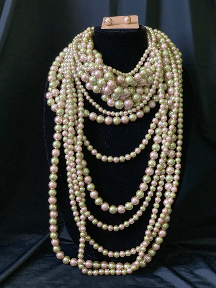 Pink and Olive Pearl Layered Necklace