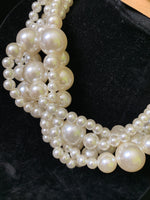 Gold Chain Cream Pearl Twisted Necklace