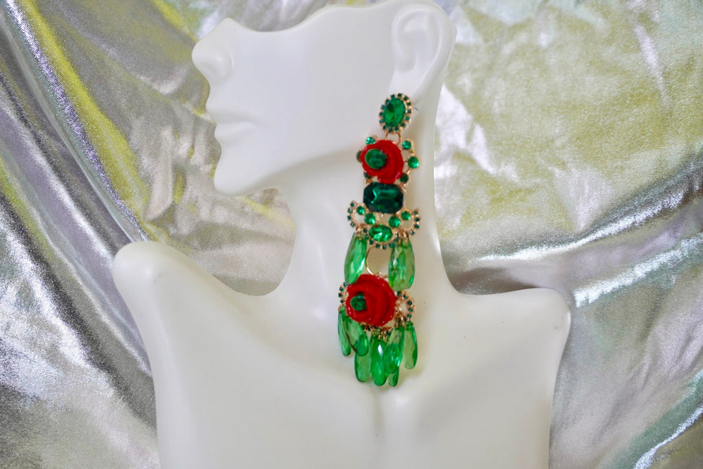 Rosey Emerald Bead Earrings