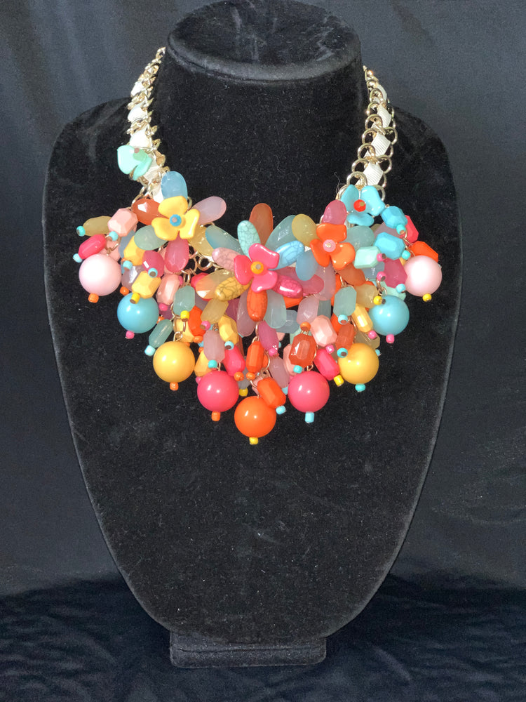 Multi Color Beaded Flowers Necklace