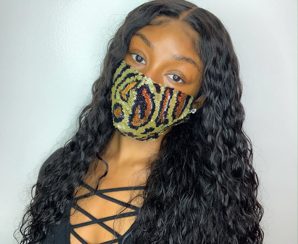 Sequin Cheetah Print Mask