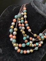 Teal Peachy Bead Necklace