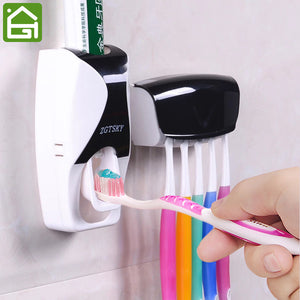 1 Set Creative Automatic Plastic Lazy Toothpaste Dispenser & 5 Toothbrush Holder Squeezer