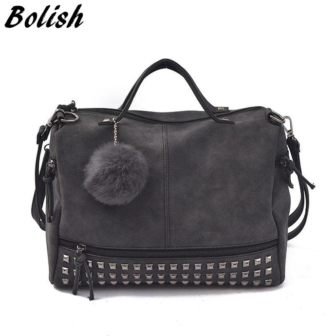 Bolish Vintage Nubuck Leather Female Top-handle Bags