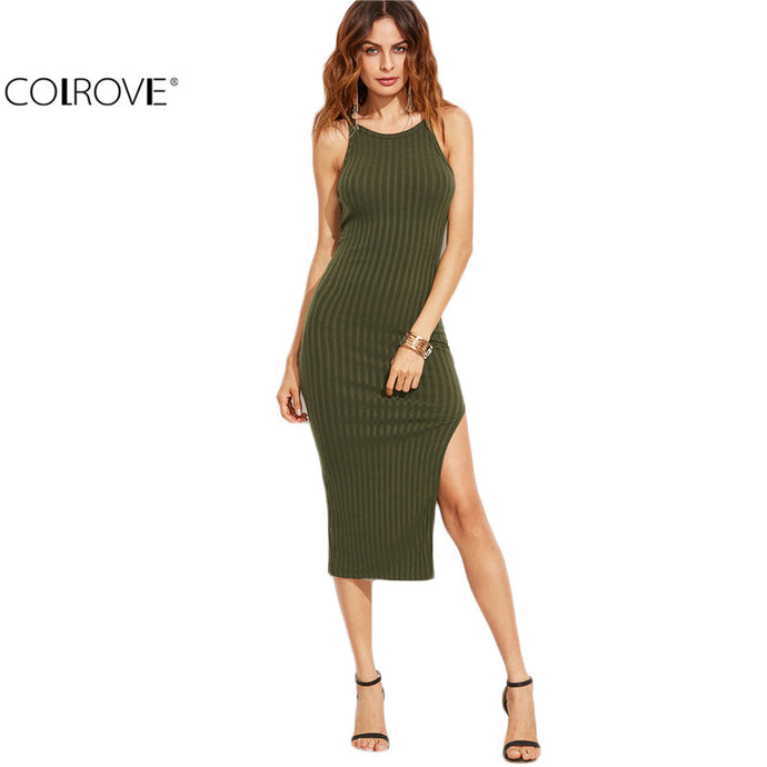 COLROVIE Winter/Autumn Women Sexy Bodycon Cami Dress - Sgpshop17