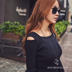 Women Casual Square Collar Long Sleeve Bodycon Knitted Dress