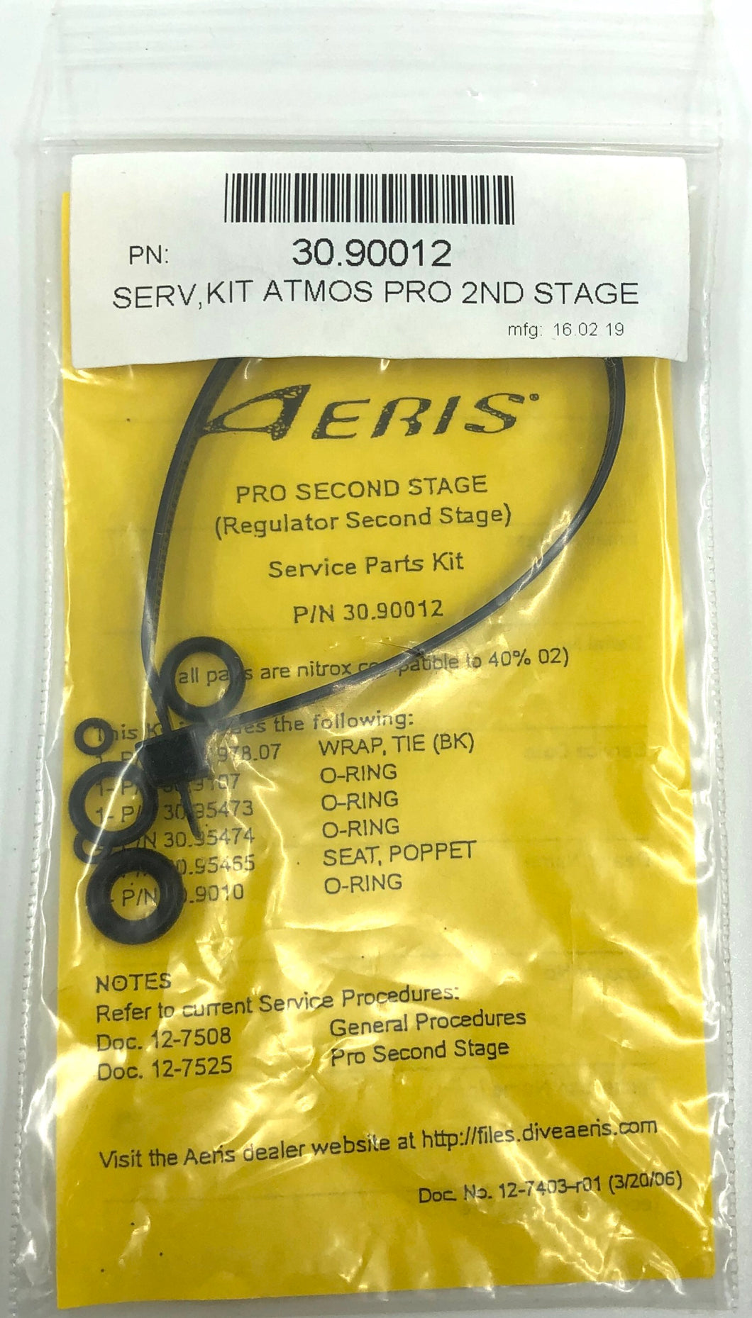 Aeris Atmos Pro Second Stage Service Kit 30.90012