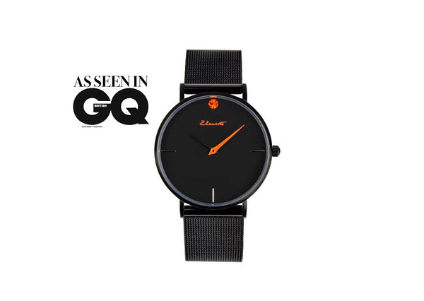 As seen in British GQ elements black and orange men's mesh stainless steel watch
