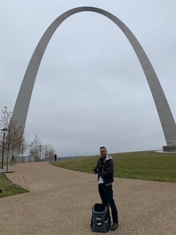 James and Scount at St. Louis' iconic Gateway Arch