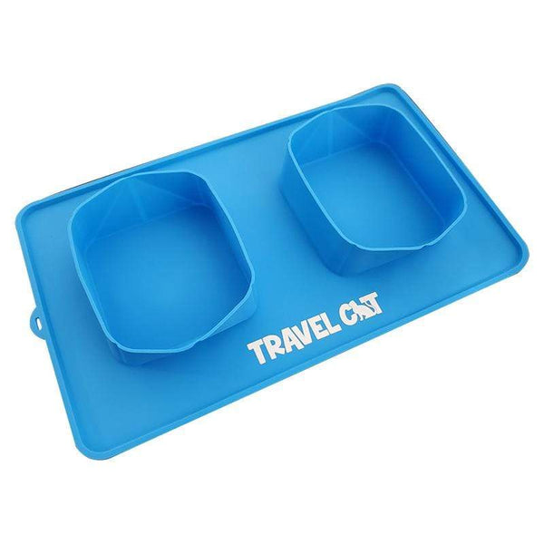 """The Travel Buddy"" Foldable All-In-One Double Bowl & Mat - Portable Cat Food & Water Dish"